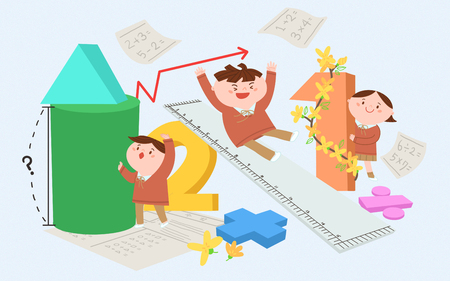 Children playing with numbers Vector illustration.