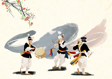 A Korean traditional sound, vector illustration.