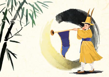 A Korean traditional sound, vector illustration.