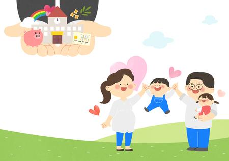 출산 격려, 남편과 아내는 자녀에게 교육 계획을 제공합니다. 일러스트