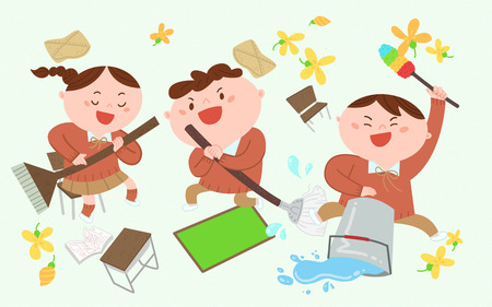 Three children is cleaning, vector illustration.