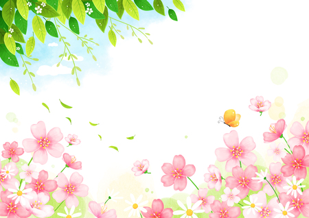 Spring background with butterfly, vector illustration.