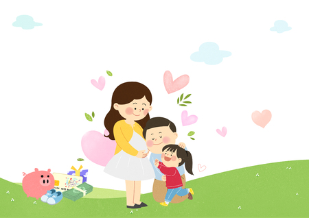 Birth encouragement, happy husband and wife with their child.