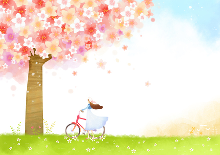 Spring background. woman is walking with bicycle.