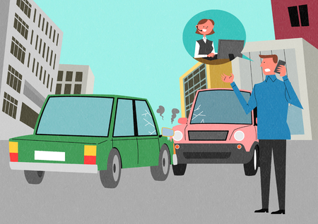 Traffic Safety with cars Illustration