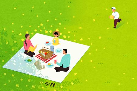 Picnic in spring008 Stock Illustratie