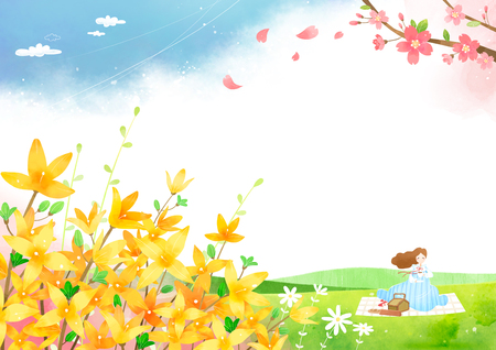 Spring background, woman is having fun in picnic. Illustration