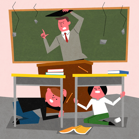 Earthquake, A fear teacher and student is trying to hide. Stock Illustratie