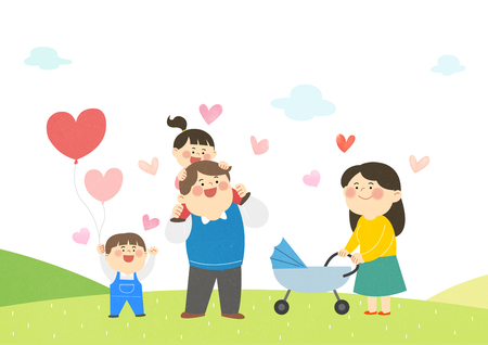 Birth encouragement, husband and wife with their children.