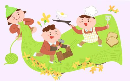 Little children cooking Vector illustration.