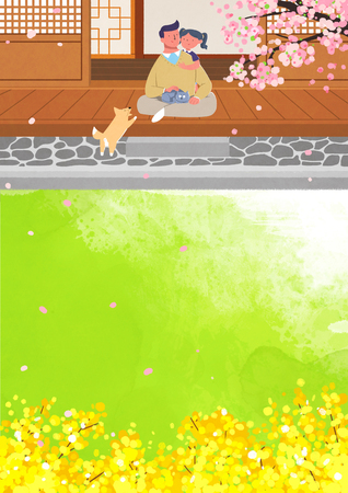 The scene of spring; couple playing with pet animals in grassland with cherry blossom scenery in cartoon illustration. Illustration