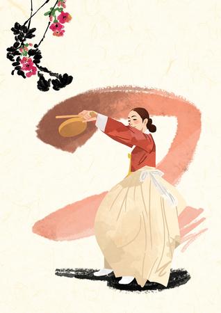 韓国の伝統的なサウンド ベクトル イラスト。  イラスト・ベクター素材