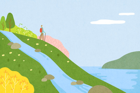 Beautiful spring scenery - great time outdoors during the Spring. Illustration