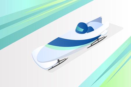 RF illustration Bobsleighing - the Winter sport Vector illustration.