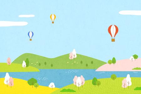 Schöne Frühlingslandschaft - große Zeit im Freien während der Sonne . Vektor-Illustration Standard-Bild - 91515858