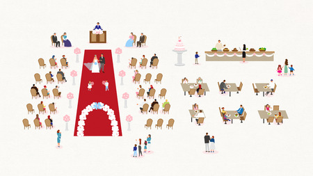 People in square of spring Vector illustration.