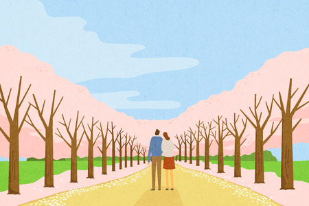 Beautiful spring scenery  - great time outdoors during the Spring. Vector illustration.