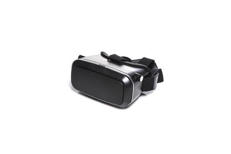 A VR goggle stands on white backgroud.