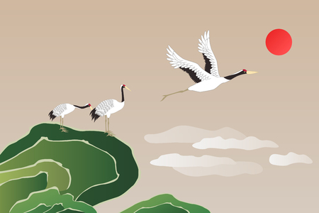 Korean traditional illustration with cranes.