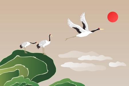 Korean traditional illustration with cranes.