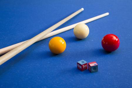 Play billiards on the pool table. 062
