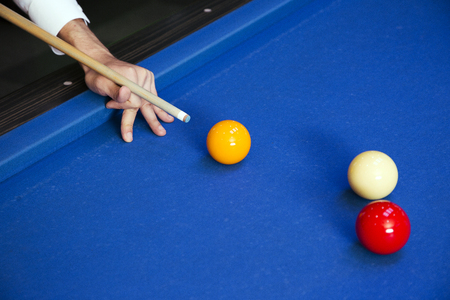 Play billiards on the pool table. 056 Banque d'images