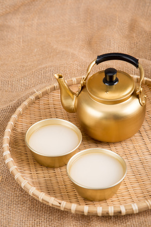 the Korean traditional drinks - rice wine, Makgeolli and others. Stock fotó