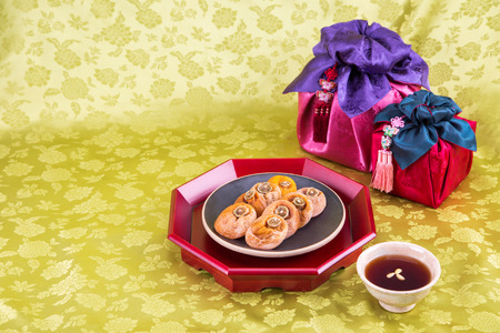 Isolated shot in studio - the Korean traditional colorful refreshments. 146