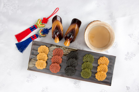 Isolated shot in studio - the Korean traditional colorful refreshments.