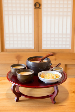 the Korean traditional drinks - rice wine, Makgeolli and others. 077 Stock Photo