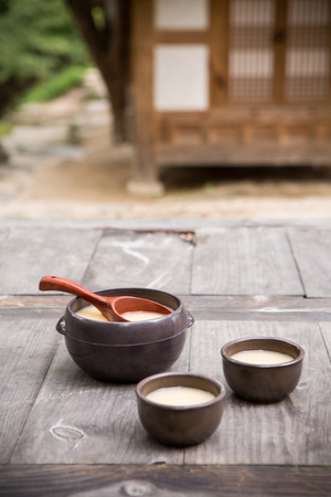 the Korean traditional drinks - rice wine, Makgeolli and others. 183 Stock Photo