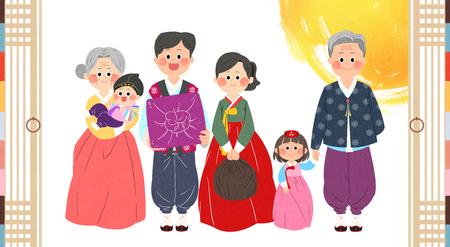 In Chuseok verbringen Sie Zeit mit Ihrer Familie. Standard-Bild - 92768878