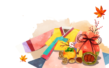 Frame in autumn, a maple leaf, hanbok, traditional wrapping cloth. Illustration