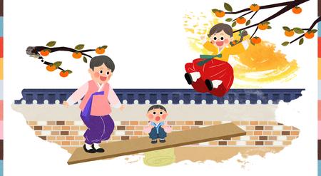 In Chuseok Zeit mit Familienillustration verbringen Standard-Bild - 92768877