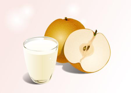 Apple and milk drink illustration