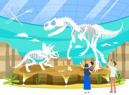 Go out of the exhibition with family Illustration