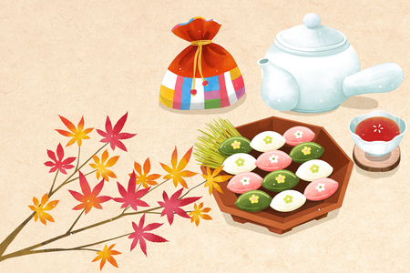 Chuseok object, sensibility concept illustration
