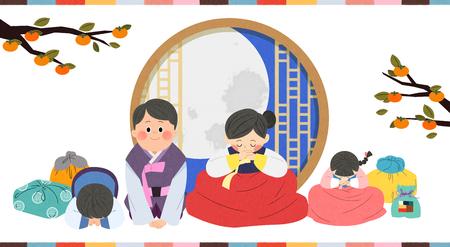 In Chuseok Zeit mit der Familie verbringen. Standard-Bild - 92769150