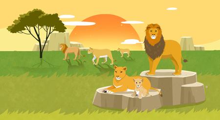 Peaceful wild animals, RF illustration 007