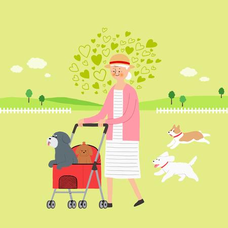 Leven met een huisdier - stock illustratie, hond in een wandelwagen Stock Illustratie