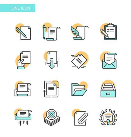 Line Icon set- business, financial, map etc. 004