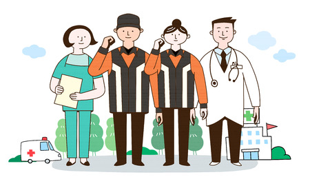 Medical professionals to a healthy society illustration