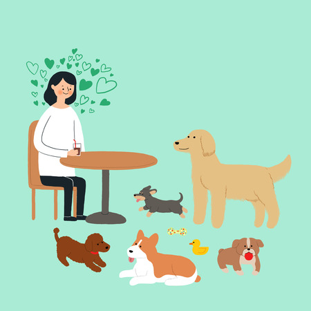 Living with a pet stock illustration Illustration