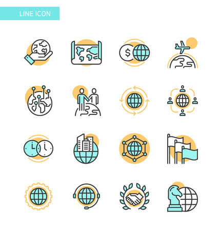 Line Icon set- business, financial, map etc. 010