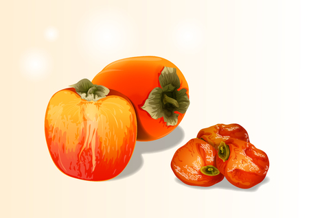 Fruit objects - soft and dried persimmons. it's tasty and all made from persimmons.