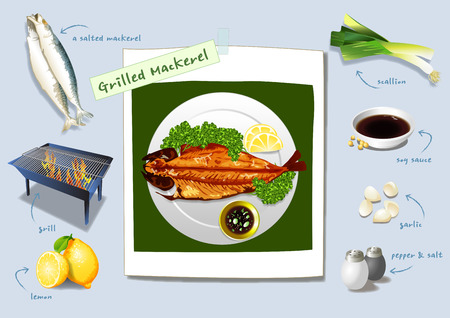 a delicacy of summer in Korea. Grilled mackerel, plenty of fatty fish