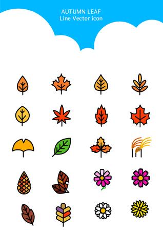 Set of Icon symbolizing summer and autumn 向量圖像