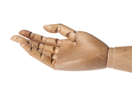 A wooden ball-jointed right hand isolated on white background shows spread fingers with palm upward.