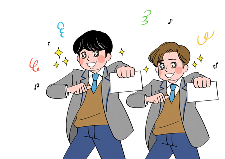 cartoon of students, celebrate last day at school Иллюстрация