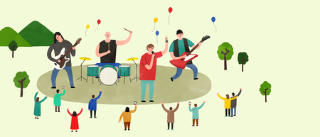 Vector of an outdoor performance, people who enjoy performance